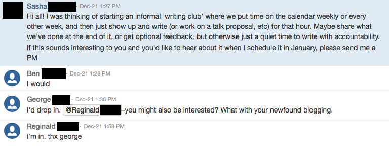 Would anyone like to write with me once a week? Hell yeah.
